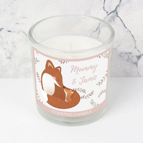 Personalised Mummy and Me Fox Scented Jar Candle
